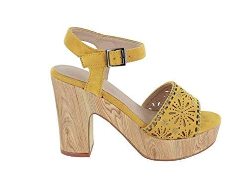 MENBUR UMITO 020491 Sandalia Amarilla para Mujer con tacón Ancho y Plataforma Similar a la Madera