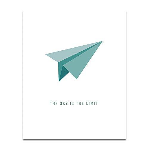 Non-branded papier vliegtuig canvas schilderkunst Nordic Minimalist Flying Higher Poster der hemel is de grootste waard inspirerende muurschilderingen 40x60cm zonder lijst