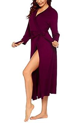 Ekouaer Women Kimono Robes, Lightweight Soft Cotton Sleepwear Robes Ankle Long Knit Bathrobe Ladies Loungewear