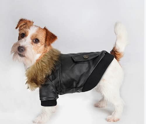 PETLESO Hunde Klamotten Leder Hundemäntel Wasserdichter Hundewintermantel Winterjacke für Kleine Bis Mittelgroße Hunde