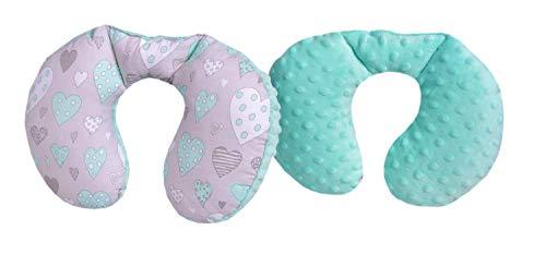 Medi Partners nekkussen kinderen nek steun 100% katoen/Minky Baby nekkussen voor auto kinderwagen autorit reizen slaap nek kussen sluimerrol (mint harten met minter Minky)