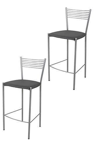 Tommychairs - Set 2 sgabelli di design Elegance per cucina e bar, struttura in acciaio verniciato alluminio e seduta imbottita e rivestita in pelle artificiale grigio scuro