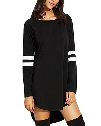 SUNNYME Damen Langarm Kleider Sweatshirt Dress Pullover Hoodies Kleider Sweaterkleid Oberteile Sport Tops Minikleider Herbst B-Schwarz XXL
