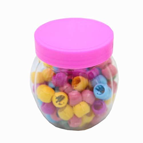 Haarklammer Clips Mini Haar Pony 100 Stück Regenbogen Perlen Clip Für Kinder Mädchen Frauen Hanmei (Regenbogen Opak Mix)