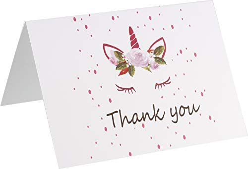 Unicorn Thank You Cards - 4 x 7 Inches of 50 Blank Note Cards with Envelopes - Perfect for Kids and Birthday Parties, Write Happy Gift Notes for Baby, Graduation, Wedding - Magical Pink Unicorn Design