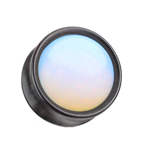 beyoutifulthings Ohr-Plug Opal-Stein Eben-Holz Ohr-Piercing Ohr-Schmuck Tunnel Sattel-Verschluss 16mm