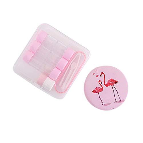 Kontaktlinsen-Etui, Flamingo-Muster, Reise-Kontaktlinsen-Etui, Schutzbox mit Spiegelpinzette, Sticklösungsflasche für 3 Paare, weiche harte RGP-Objektiv