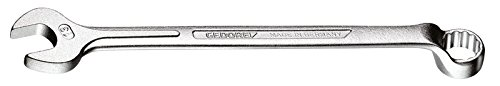 GEDORE 1 B 21 Ring-Maulschlüssel, gekröpft, geschmiedet, 10° abgewinkelt mit UD-Profil, DIN 3113 Form B, matt verchromt, 21 mm