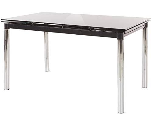 Loft24 Ausziehbarer Esszimmertisch 140-200 cm Glasplatte Schwarz Esstisch Glastisch Küchentisch Auszugsfunktion Metallbeine Modernes Design
