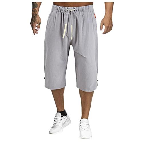 Pantalones cortos para hombre, de algodón, de lino, sueltos, de ocio, de estilo harén, para el hogar, informales, de verano, para correr, para hombres, gris, XXXXXL