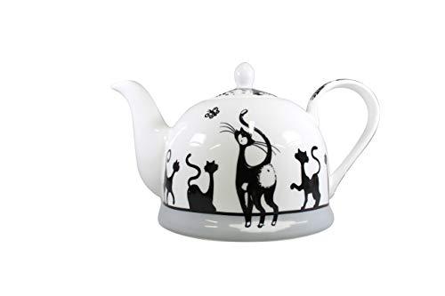 Jameson & Tailor Iglu Teekanne Kaffeekanne Katzenparade Brillant-Porzellan 1100ml Füllmenge