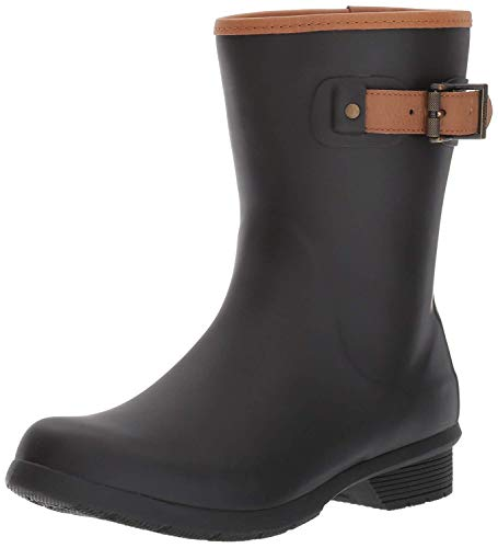 Chooka Women's Mid-Height Memory Foam Rain Boot, Black, 6 M US