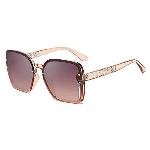 JiXuan Gafas de sol Mujer Marco Grande Gafas cuadradas Gafas de sol de gran Tamaño de la vendimia Damas de viaje Tonos UV400 C5