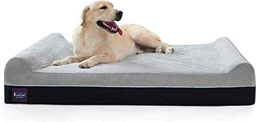 Laifug Orthopedic Memory Foam Extra Large Dog Bed Pillow(50'x36'x10', Slate Grey) Durable Water Proof Liner & Removable Washable Cover & Smart Design
