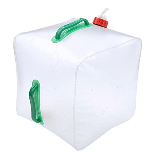 Bidón de agua para camping, 20 L, plegable, sin BPA, con grifo, depósito de agua, reutilizable, portátil, para caravana, caza, senderismo, viajes con mochila, transparente