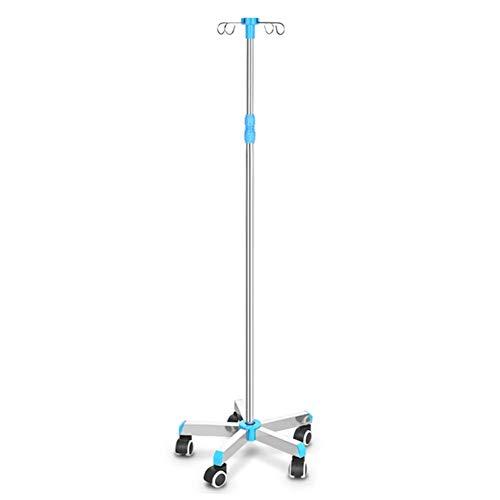 Portable cart - GR/Höhenverstellbarer Deluxe-Tropfständer - Infusionsständer aus medizinischem Edelstahl mit 5 Rädern und 4 Haken