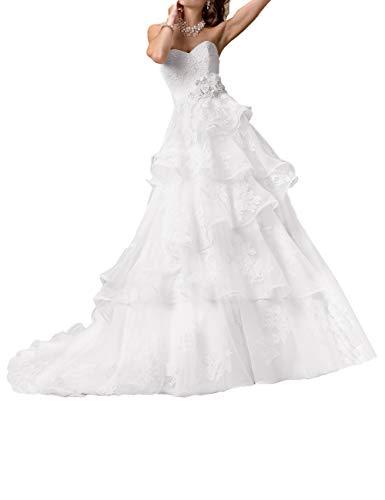 HUINI Abiti da Sposa Vintage Abito da Sposa Lungo in Pizzo Abito da Cerimonia Senza Maniche con Lunga Catena da Sera Bianco 32