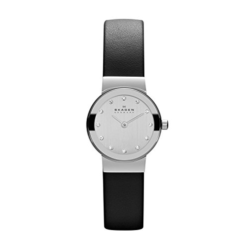 Skagen Women's Freja Quartz Analog Stainless Steel and Leather Watch, Color: Black (Model: 358XSSLBC)