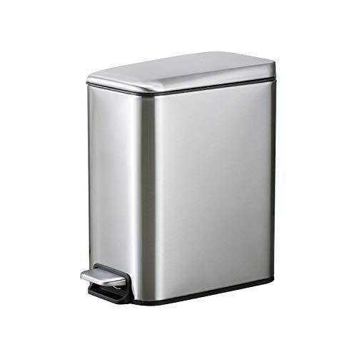 Smartbin 5L Rectangular Papelera con Tapa Silenciosa Cubo de Basura con Pedal Paso Cocina Basura Barurero Contenedor de Basura Papelera de Reciclaje Baño Cocina Oficina (Plata)