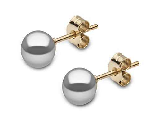 Kimura Pearls 9ct Yellow Gold 6mm Grey Button Shape Cultured Freshwater Pearl Stud Earrings