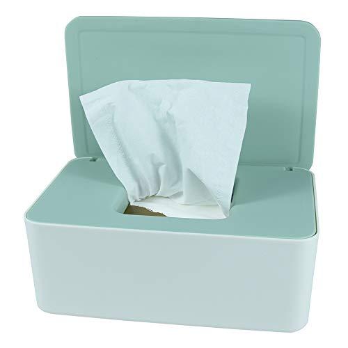 Dispensador de toallitas de pañales, caja de almacenamiento de pañales, soporte dispensador de toallitas húmedas con tapa para el hogar, la oficina, el coche (verde)