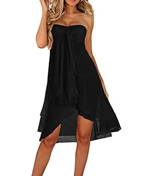 Upopby Women s Mesh Swimsuit Cover Up Bikini Sarong Strapless Dress Midi Skirt Beach Coverup Dress Black S