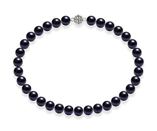 Schmuckwilli Damen Muschelkernperlen Perlenkette Dunkel Blau Magnetverschluß echte Muschel 50cm dmk2011-50 (12mm)