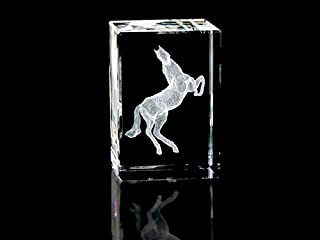Asfour Crystal 1159-70-56 2 L x 2. 75 H x 2 W inch Crystal Laser-Engraved Horse Animals and Nature Laser-Cut