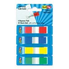 Redi-Tag RTG74002 Banderas de película 44; autoadhesivas 44; 140 banderas 44,4 pulgadas x 1.7 pulgadas.44; 4-PK44; surtido
