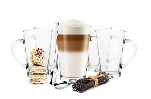 6 Kaffeegläser Latte Macchiato Gläser 300 ml mit Henkel und 6 Edelstahl-Löffeln (gratis)