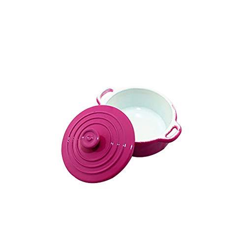 qingsb Fashion Miniatur Candy Color Suppentopf Puppenhaus Zubehör Geschenk Sauce Pfanne Spielzeug rosarot