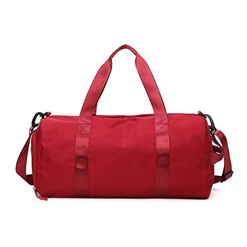 Deporte Bolsa, Ajustable Compartimento Impermeable Travel Duffle Bag Gym Bag Bolsa Deporte Fitness (Rojo)