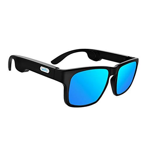 Toygogo Occhiali a Conduzione Ossea Occhiali da Sole Smart Audio Bluetooth 5.0 - Blue Lens