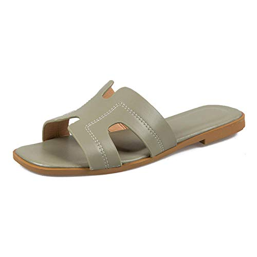 LANKOULI Hausschuhe Frauen tragen Flache Sandalen außerhalb Sommer Sommersandalen und Hausschuhe Sandalen und Hausschuhe Frauen-Hellgrün_39