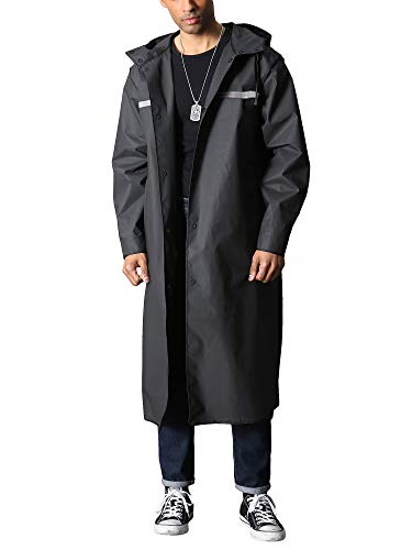 TACVASEN Rain Coat Men Waterproof Rain Jacket Reusable Long Raincoat Hiker Angler Rain Poncho Fishing Travel Hoodies Riders, L, Black 02