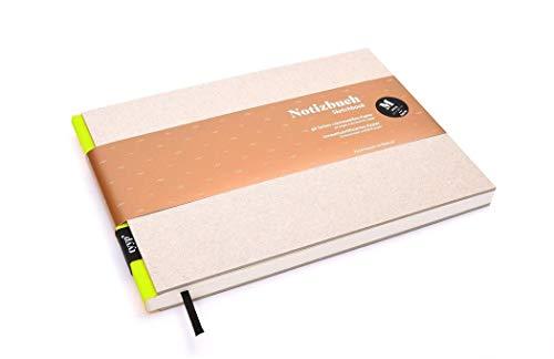 Cuaderno (A5, horizontal, hecho a mano, tapa dura, en blanco, tamaño A5), color amarillo neón