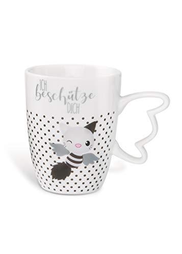 NICI 46048 - Taza de desayuno, diseño de gato, color blanco