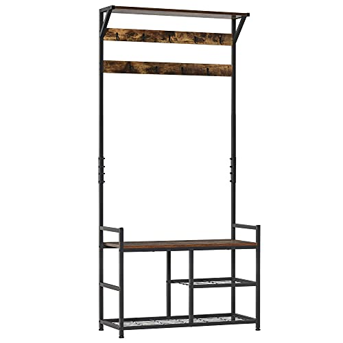 HOMCOM Coat Rack Stand Shoe Storage Bench with 9 Hooks Shelves for Bedroom Living Room Entryway Brown and Black 180cm