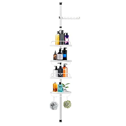 Shower Caddy,4 Tier Bathroom Baskets Corner Shower Caddy Tension Pole Storage Rack Organizer,Height Adjustable Among 3.6Ft to 10.1Ft