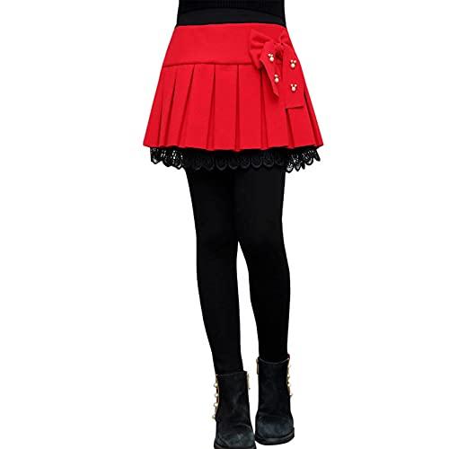 inlzdz Leggings con Falda Térmicos para Niña Invierno Leggins Cálido Pantalones Largos de Elástico de Color Sólido Tipo A Rojo 7-8 años