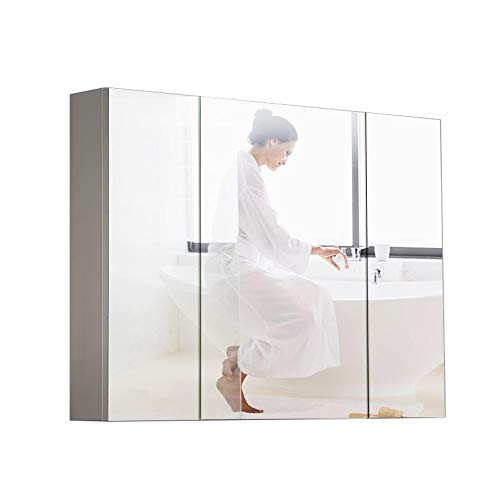 JOMSK Armadio di Stoccaggio Tri-Vista Botiquín Espejo, Cuarto de baño Gabinete de Pared, botiquín del baño con el Espejo (Color : Silver, Size : 130x80x13.5cm)