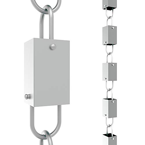 Rain Chains Direct Square Link Rain Chain, 8.5 Feet Length, Aluminum, Gray, Functional and Decorative Replacement for Gutter Downspouts