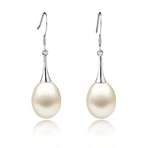BAGEHAN 9-10Mm Große tropfenförmige Perle Ohrringe natürlichen Ohr Haken Langen Ohrring Silber Anti-Allergie, 9-10mm