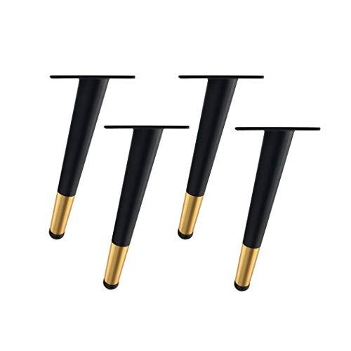 4 Möbelstützbeine, Metallneigungsmöbelbeine Sofabeine Bettbeine Schrankbeine Tischbeine Mit Schrauben, Möbelersatzbeine, Schwarzgold(60cm/23.62in)