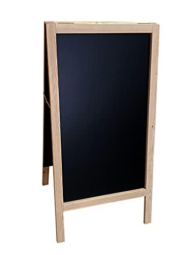 Pizarra caballete marco madera . Pizarra negra doble cara apta para tizas y rotuladores efecto tiza. Ideal para hostelería, infantil, restaurante, habitación niños, etc. (PINO, 90 X 50 cm)