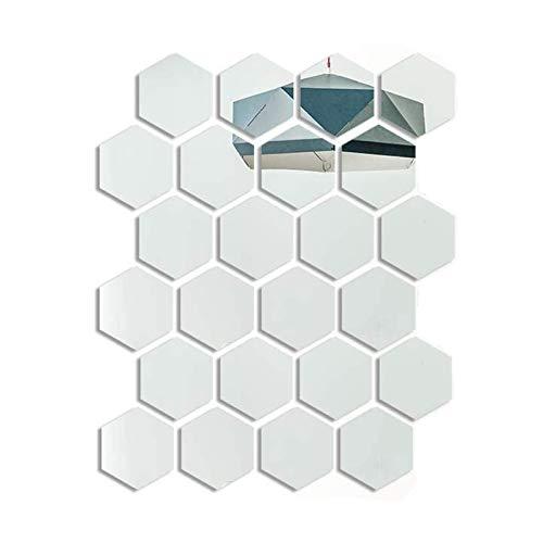 24 Piezas Pegatinas de Pared de Espejo Hexagonal, Calcomanías de Acrílico para Espejo para Decoración del Hogar, Sala de Estar, Dormitorio, Baño, Sofá, TV Decoración de Pared