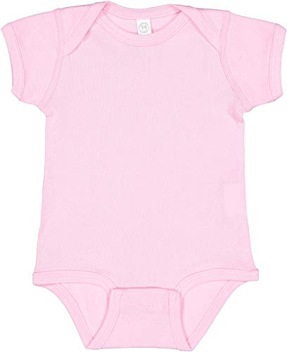 RABBIT SKINS, Baby Soft Short-Sleeve Bodysuit, Pink, 6 Months