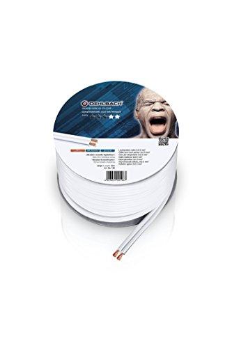 Oehlbach Speaker Wire SP-25 - Stereo HI-FI Lautsprecherkabel - Boxenkabel mit OFC (sauerstofffreies Kupfer) 2x2,5mm² - Mini Spule Lautsprecher Kabel - Weiß – 20m