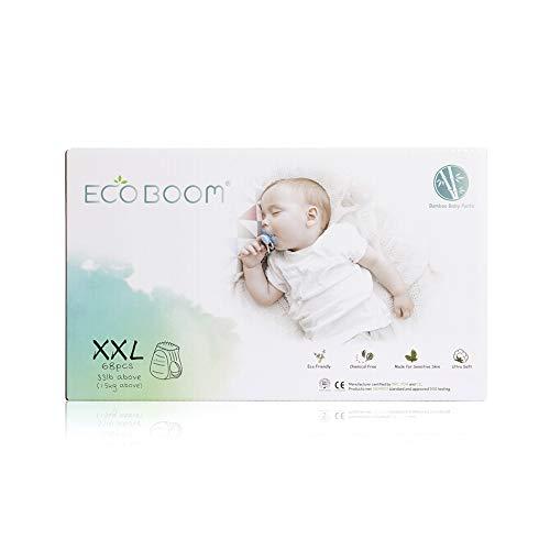ECO BOOM Pañales entrenamiento niño Hasta 12 horas de sequedad. Pañales talla 6 (35LB+) sin perfumes ni lociones y libre de cloro - pañales ecologicos Biodegradables de Bambú bebé