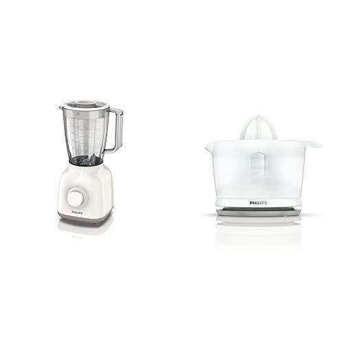 Philips Daily HR2100/00 - Batidora Americana de Vaso, 400 W, Jarra 1.5L, Plástico Ultra Resistente, Color Blanco + Daily HR2738/00 - Exprimidor, Color Blanco